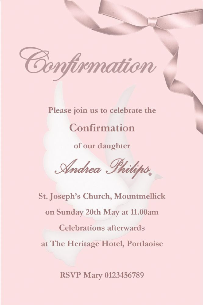 Personalised Confirmation Invitations Girl New Design 2 2311 P on Charts To Print Money